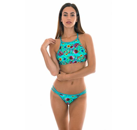 Crop top-bikini, krysset rygg, blåblomstret - BLOOM CROPPED