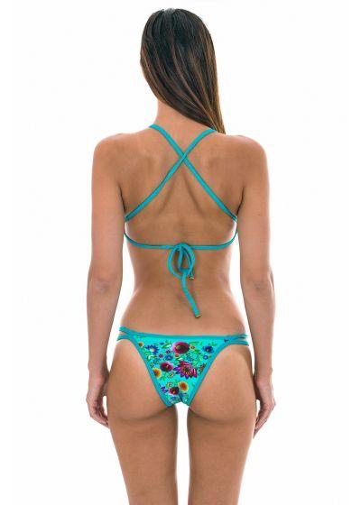 Crop top-bikini, krysset rygg, blåblomstret - BLOOM CROPPED