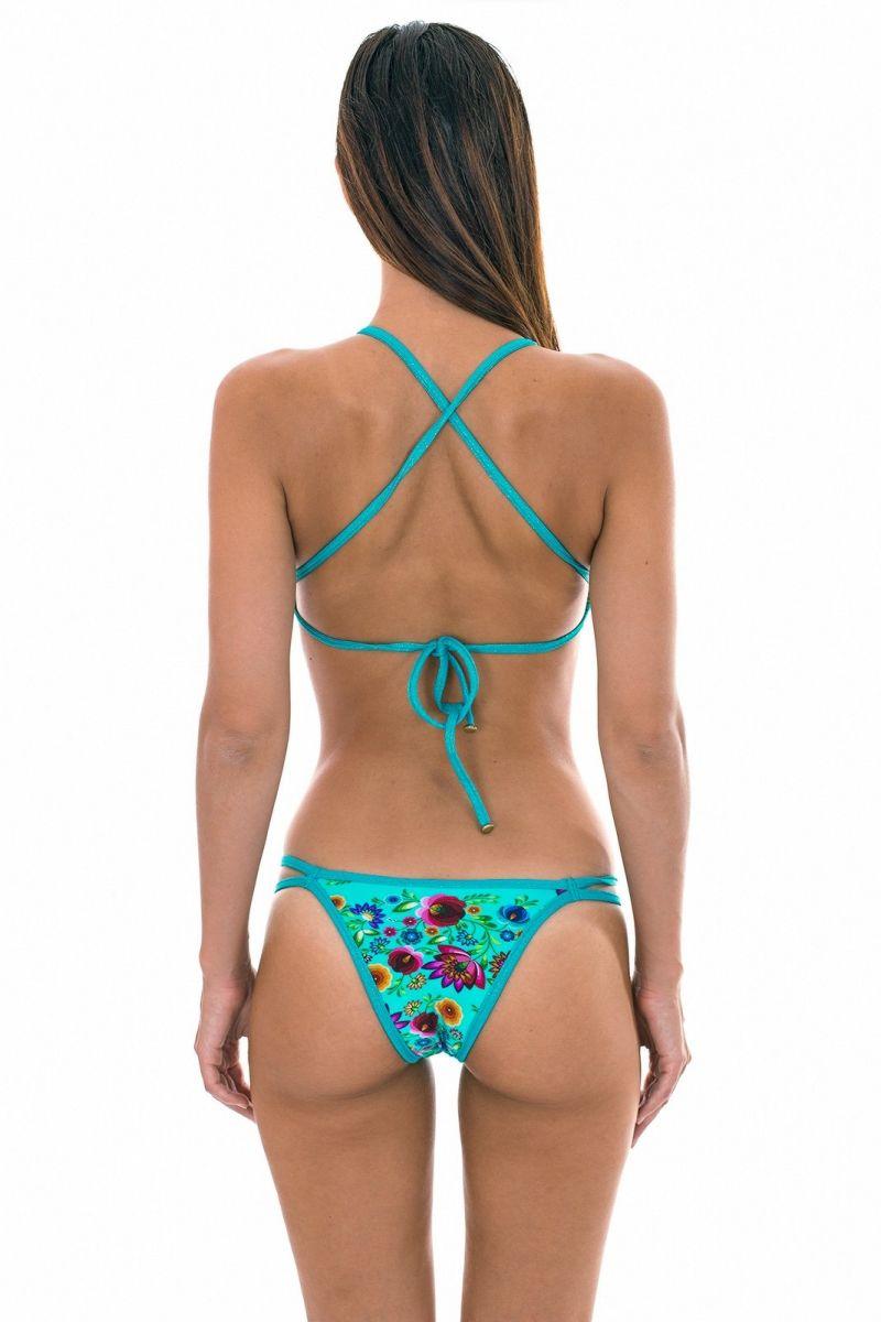 Blue flower print cross back crop top bikini - BLOOM CROPPED
