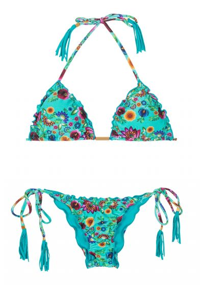 Blue floral scrunch bikini with frilly edges - BLOOM FRUFRU