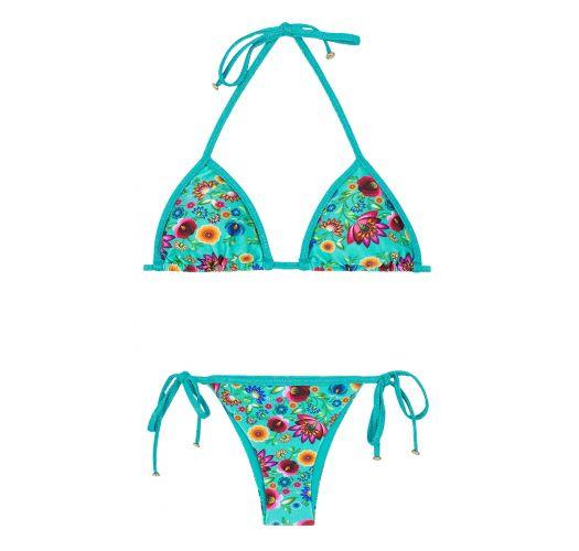 Blue floral print Brazilian bikini with lurex straps and ties - BLOOM RADIANTE TRI