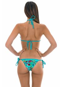 Blue floral print Brazilian bikini with lurex straps and ties - BLOOM RADIANTE TRI