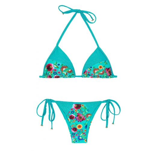 Bikini brésilien fleuri/lurex bleu brillant - BLOOM RECORTE