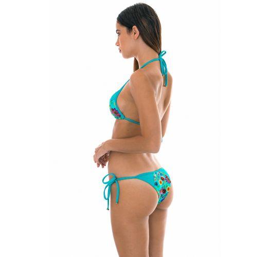 Bright blue floral print/lurex Brazilian bikini - BLOOM RECORTE