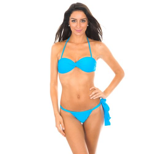 Blue bandeau bikini with unusual bottom - BLUE TORCIDO LACE