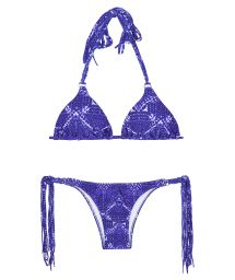 Blue print long fringe triangle bikini - BLUEJEAN BOHO