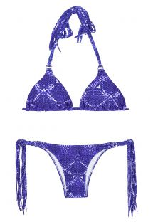 Mønstret blå trekantsbikini med lange frynser - BLUEJEAN BOHO