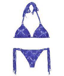 Blue print long fringe string bikini - BLUEJEAN BOHO MINI