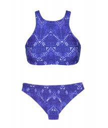 Blue printedcrop top bikini with racer back - BLUEJEAN SPORTY