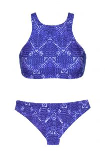 Blue printed crop top bikini with racer back - BLUEJEAN SPORTY