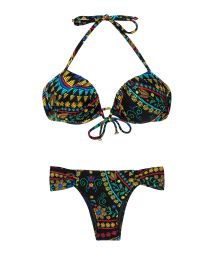 Black balconette push-up bikini with small flower design - BORDADO BALCONET