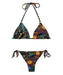 Trekants- bikini med färgat tryck och små ringar - BORDADO CHEEKY