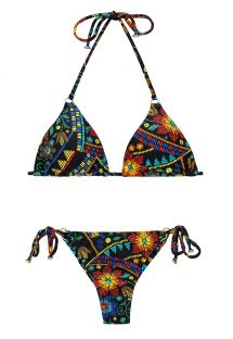 Multicolour printed triangle bikini with small side rings - BORDADO CHEEKY