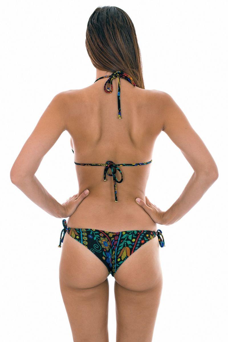 Multicolour printed triangle bikini with small side rings - BORDADO CHEEKY