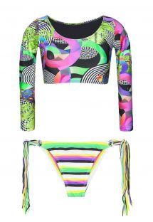 Bikinitrusser med g-streng og frynser og crop bikini top i surferstil - BOSSA FRANJA MINI