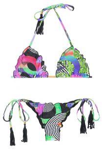 Skrumpet brasiliansk bikini med frynser og pomponger - BOSSA FRUFRU
