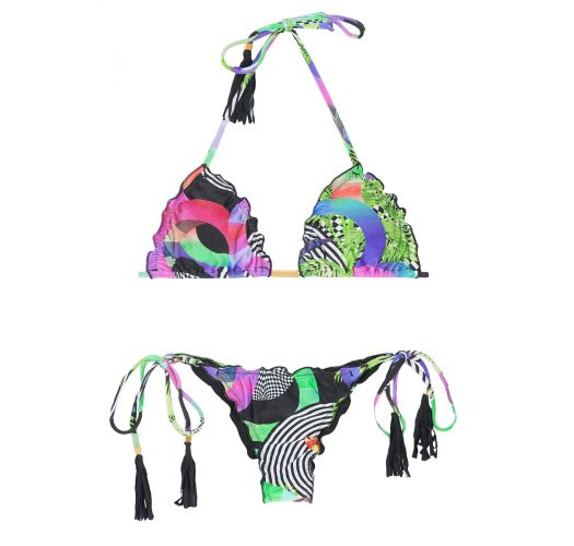 Bikini brésilien scrunch avec pompons frangés - BOSSA FRUFRU