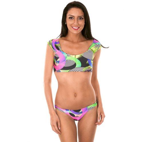 Bikini top crop off shoulder con estampado geométrico - BOSSA SHOULDER