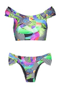 Bikini escotado de laterales anchos y crop top Bardot - BOSSA SHOULDER HIPSTER