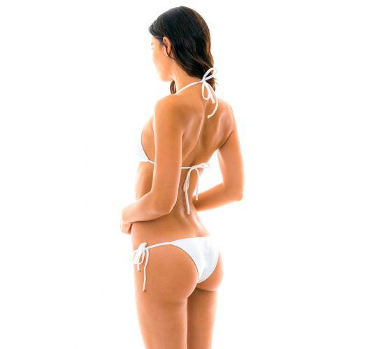 Accessorized white side-tie Brazilian bikini - BRANCO TRI LACINHO