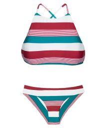 Crop top bikini with tri-coloured stripes - BUZIOS SPORTY
