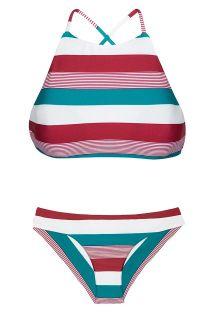 Crop top-bikini med striper i tre farger - BUZIOS SPORTY