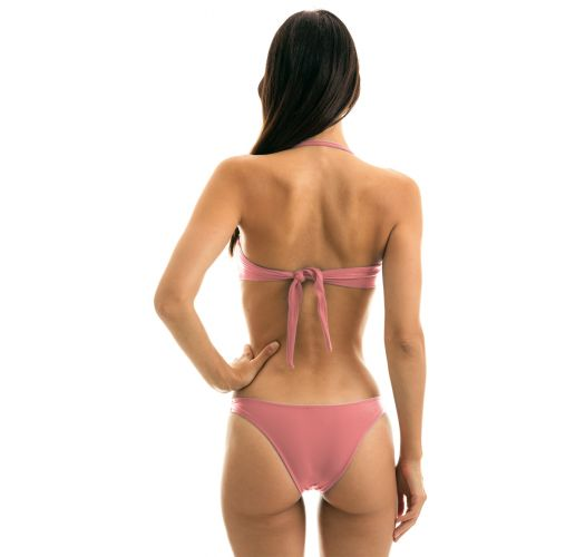Iridescent pink high-leg bikini with bandeau top - CALLAS BANDEAU
