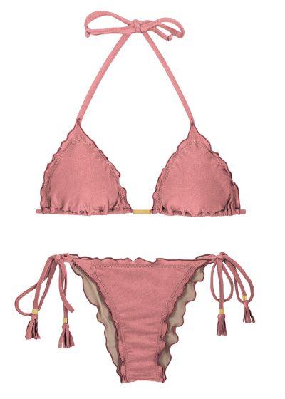 Iridescent pink side-tie scrunch bikini - CALLAS FRUFRU