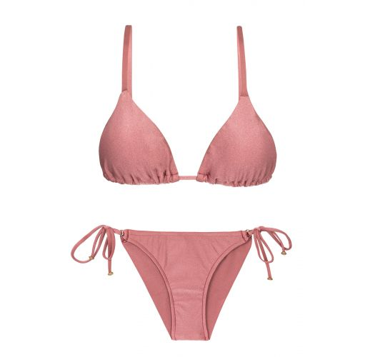 Accessorized iridescent pink scrunch bikini  - CALLAS INV COMFORT
