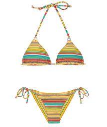 Brazilian bikini with yellow stripes - CANARINHO CHEEKY