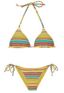 Brazilian bikini with yellow stripes - CANARINHO CHEEKY