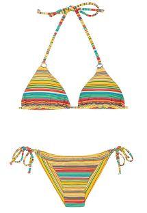 Randig brasiliansk bikini i gult - CANARINHO CHEEKY