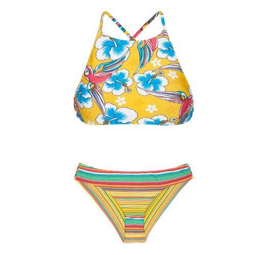 Crop top bikini with a mixture of yellow prints - CANARINHO SPORTY