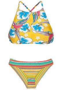 Bikini crop top mix d&#39imprimés jaunes - CANARINHO SPORTY