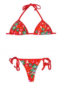 Floral red string swimsuit - CAPIVARA