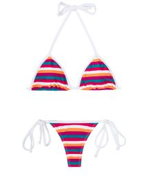 Multicoloured striped thong swimsuit - CAVALO MARINHO