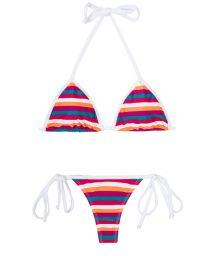 Multicoloured striped thong swimsuit - CAVALO MARINHO