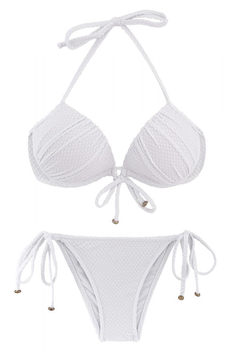 Weißer texturierter Balconette-Push-Up-Bikini - CLOQUE BRANCO BALCONET