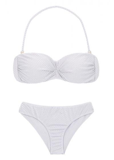 White textured fixed scrunch bikini - CLOQUE BRANCO BANDEAU