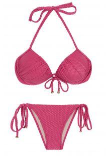 Textured fuchsia pink side-tie balconette bikini - CLOQUE LICHIA BALCONET