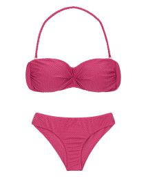 Pink fuchsia textured fabric fixed bikini - CLOQUE LICHIA BANDEAU