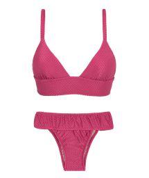 Fuchsia pink fixed longline bikini with a waistband - CLOQUE LICHIA TRI COS