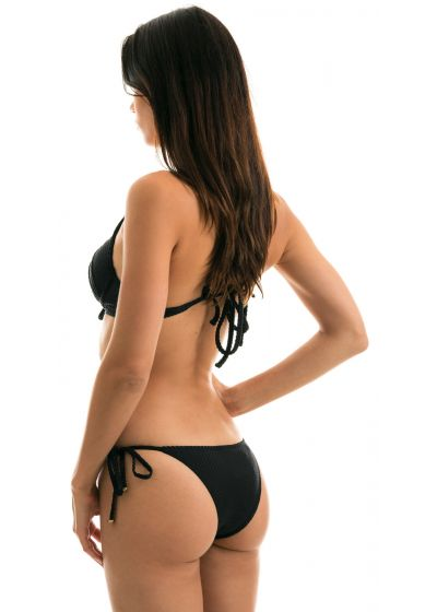 Black side-tie textured Brazilian push up bikini - CLOQUE PRETO BALCONET
