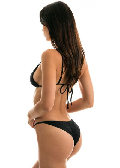 Adjustable black textured cheeky bikini - CLOQUE PRETO CHEEKY
