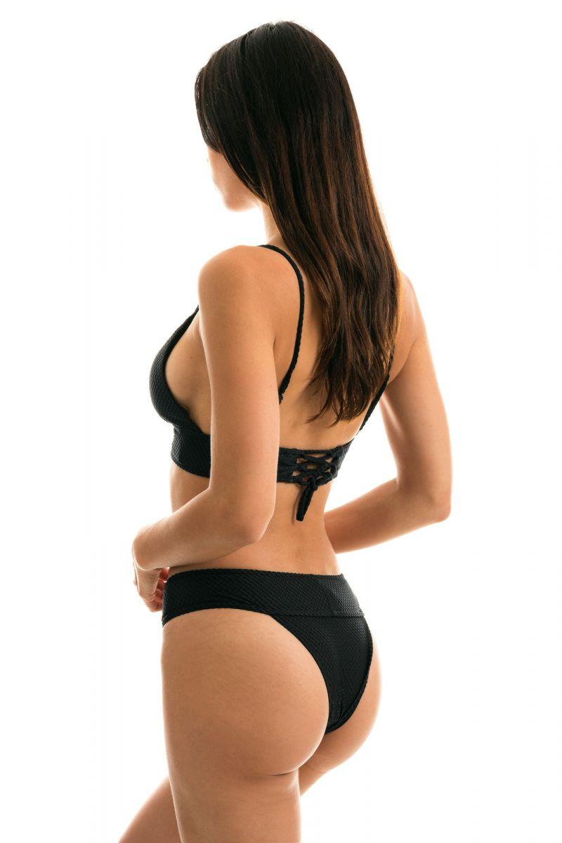 Black bikini with wide band and textured fabric - CLOQUE PRETO TRI COS