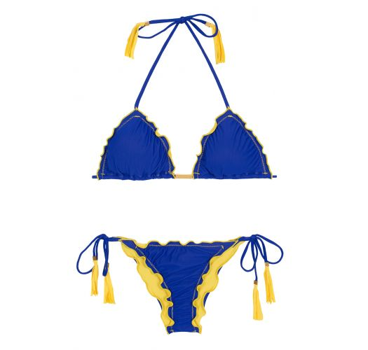 Scrunch bikini, blue pompoms, yellow fringes - COLOR YELLOW BLUE