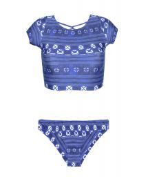 Blue crop top bikini, multi-strap cross-back - COOL JEAN CHEEKY