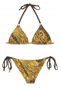 Gold-colour print triangle bikini with ring detail - CORTININHA ARGOLA RELUZENTE