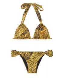 Gold-coloured scarf triangle bikini with fabric rings - CORTINÃO RELUZENTE