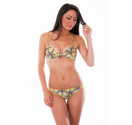 Selvlysende bandeau bikini med gult mønster - CORUJAS